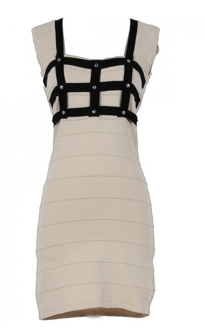 Come To My Window Black and Beige Bodycon Dress