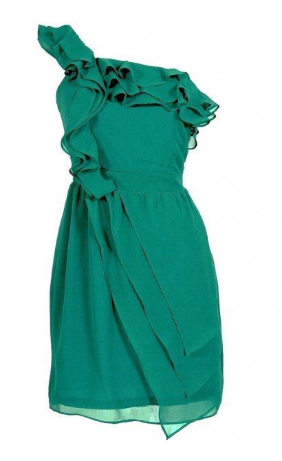 One Shoulder Chiffon Ruffle Designer Dress in Teal