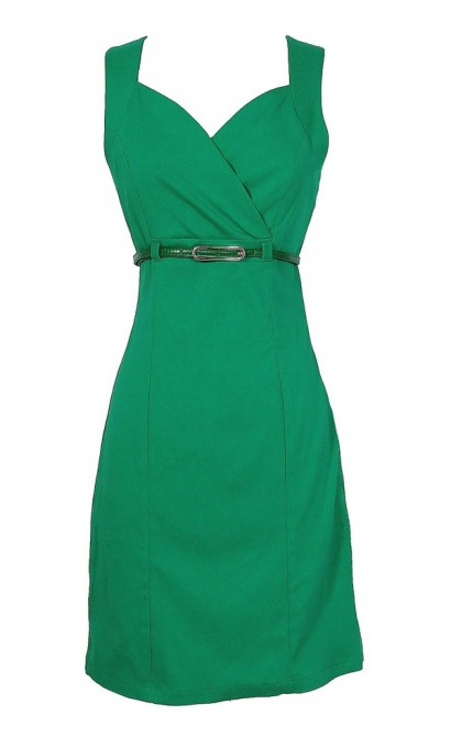 Close The Deal Belted Pencil Dress in Bright Green