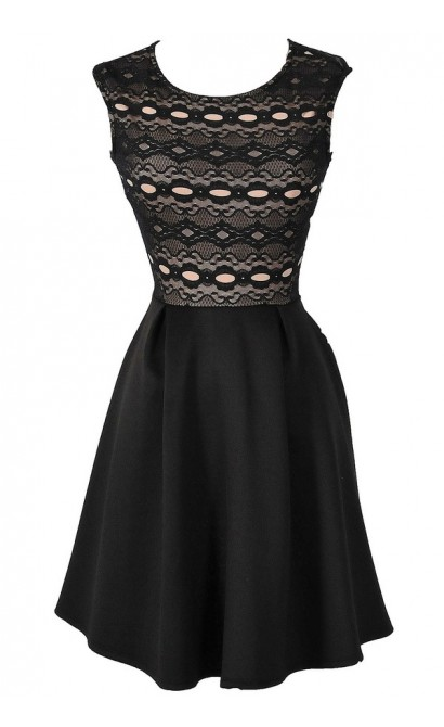 Edie Black and Nude Circle Lace Fit and Flare Party Dress