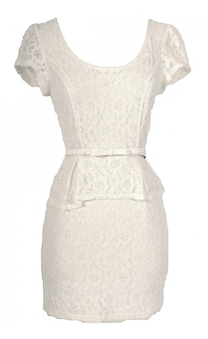 High Society Ivory Bow Belted Peplum Lace Dress