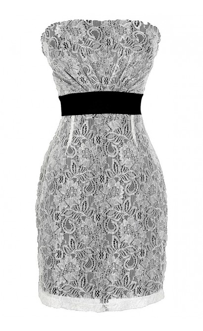 Black Tie Affair Black and Ivory Lace Strapless Dress