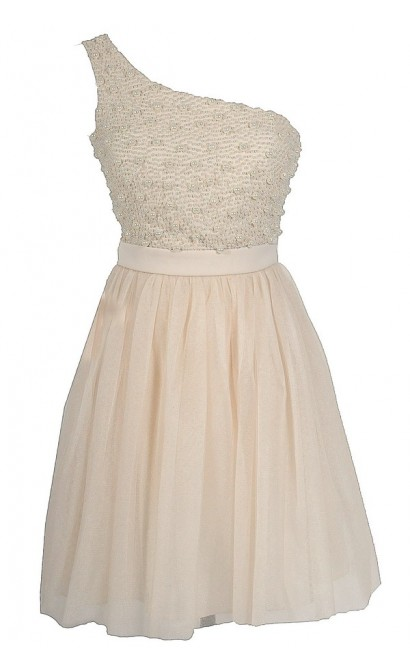String of Pearls Tulle Designer Dress in Cream