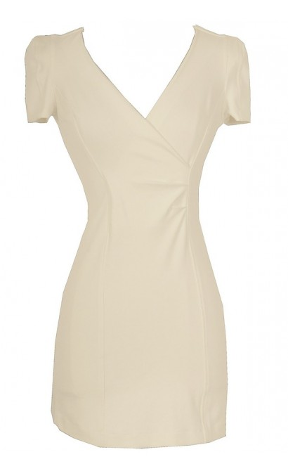 Crossing Over Sheath Dress in Ivory