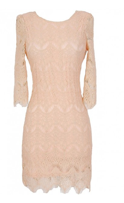Vintage-Inspired Lace Overlay Dress in Blush