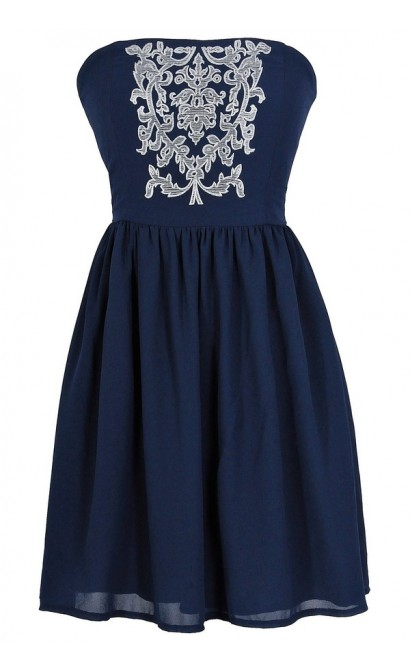 Filigree Embroidered Strapless Dress in Navy