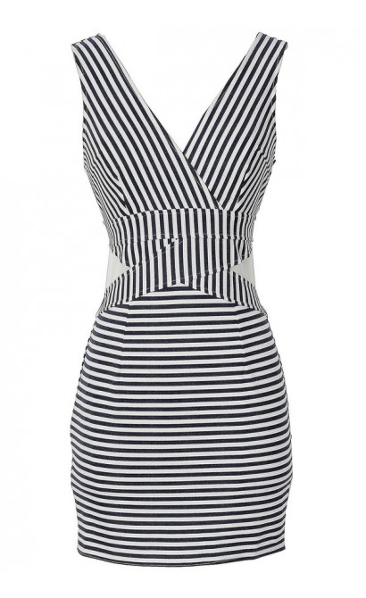 Fine Lines Navy and White Stripe Bodycon Dress