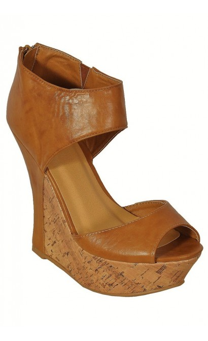 Contrast Cork Tan Leatherette Wedges