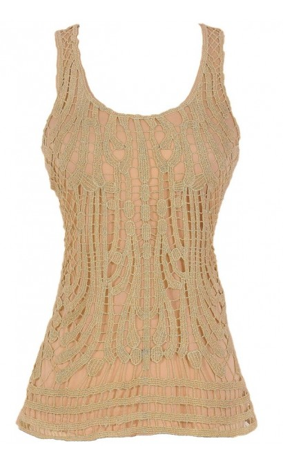 Web of Gold Lace Top