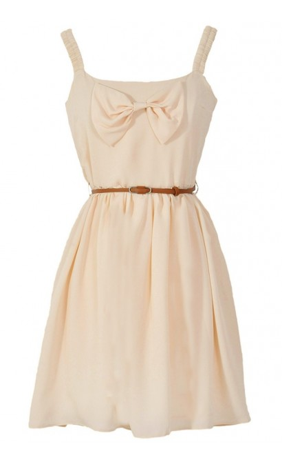 Country Concert Bow Front Dress in Cream