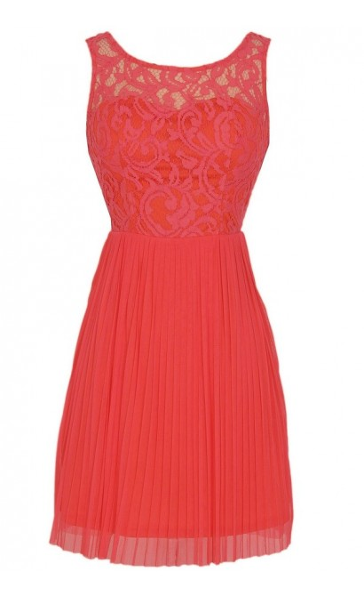 Perennial Garden Lace and Pleated Tulle Dress in Coral