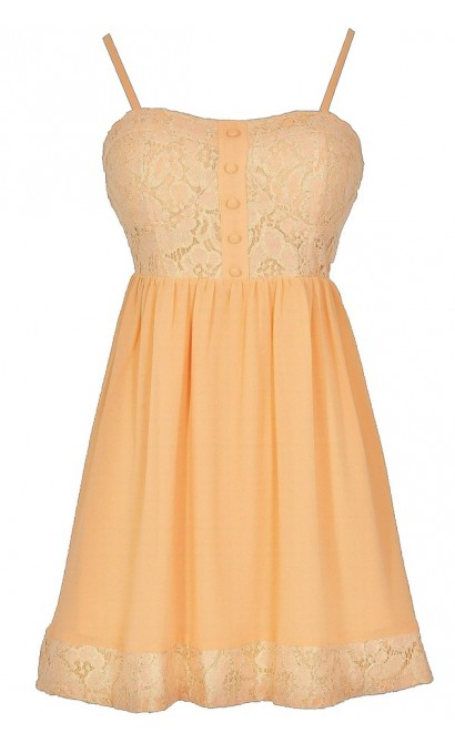 Peach Sunrise Lace Babydoll Dress