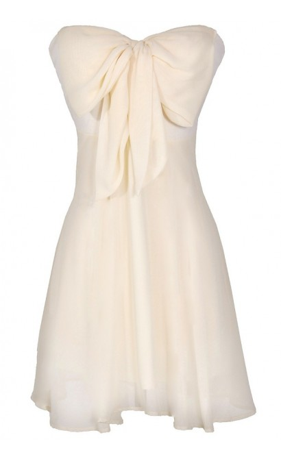 Oversized Bow Chiffon Dress in Ivory