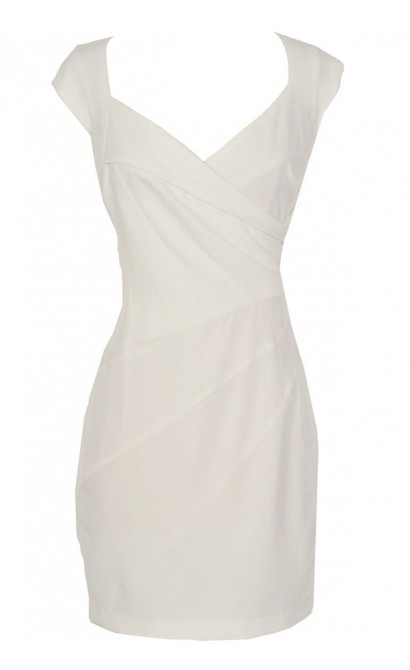 Crossover Designer Sheath Dress With Mini Sleeves in Off-White