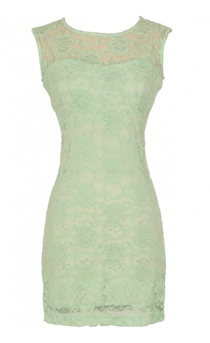 Bold Floral Lace Fitted Dress in Seafoam