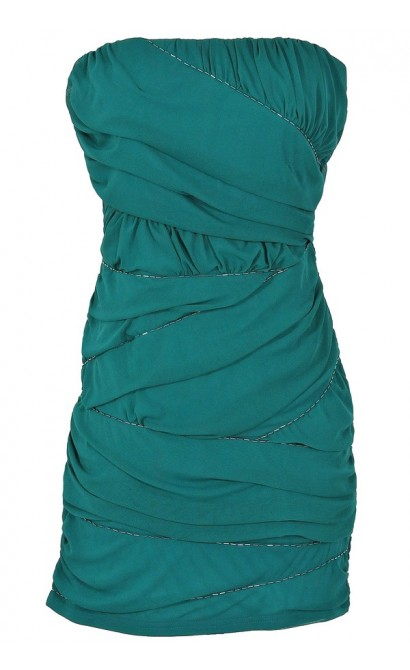 Beaded and Ruched Crisscross Bodycon Dress in Teal