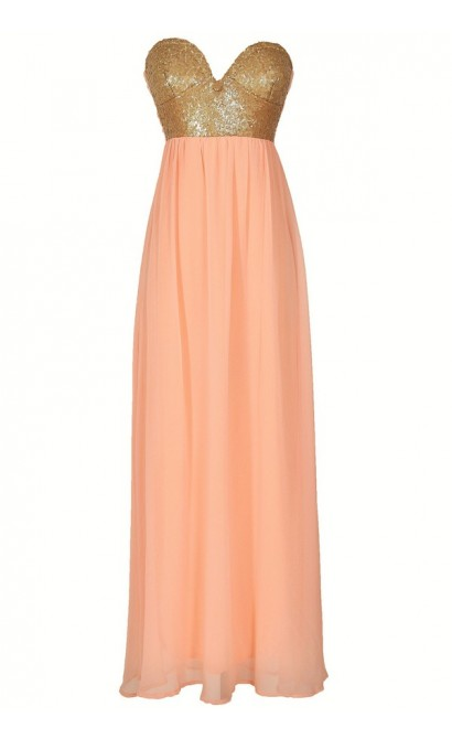 Mermaid For You Embellished Maxi Dress in Peach