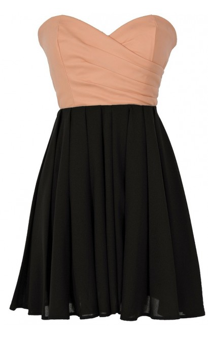 Leatherette and Chiffon Strapless Dress in Peach/Black