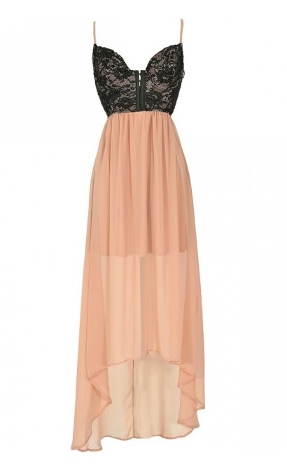 Black and Nude Embellished Lingerie-Inspired High Low Dress