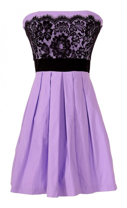 Laced With Style Contrast Dress With Pleated Skirt in Purple