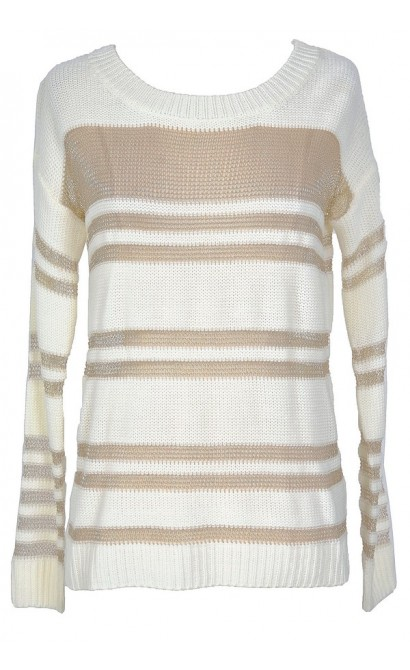 Gold and Ivory Metallic Stripe Sparkle Sweater