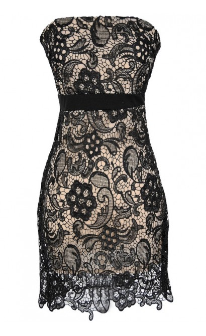 Make A Wish Crochet Lace Strapless Dress in Black/Nude
