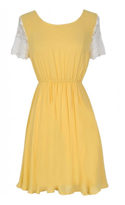 Love At First Sight Lace Cap Sleeve Dress in Yellow
