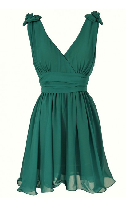 Rosette Shoulder Dress in Hunter Green
