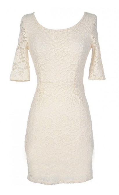 Elegant Fitted Floral Lace Dress in Ivory