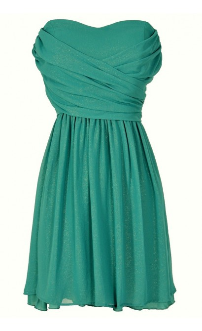 Dress To Impress Strapless Chiffon Dress in Teal Shimmer