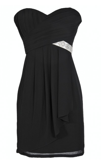 Black Tie Optional Strapless Embellished Designer Dress in Black