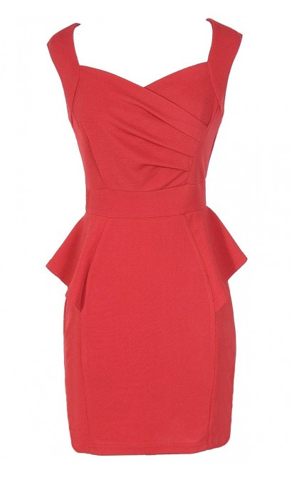 Network The Room Matelasse Peplum Dress in Red