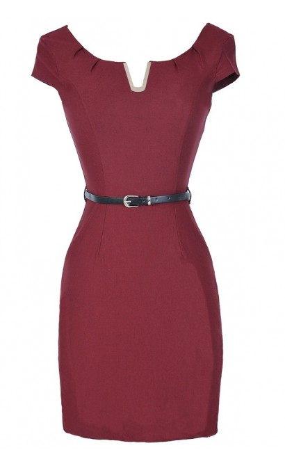 V for Victory Belted Pencil Dress in Burgundy