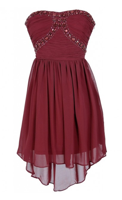 Beads of Light Embellished High Low Dress in Burgundy