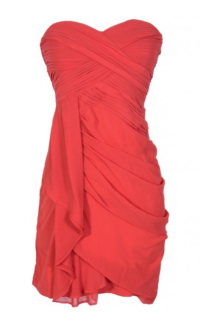 Dreaming of You Chiffon Drape Party Dress in Red by Minuet