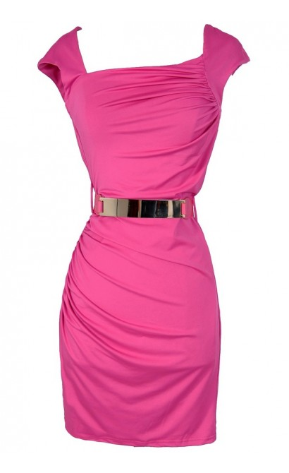 Elle Woods Belted Pink Bodycon Dress