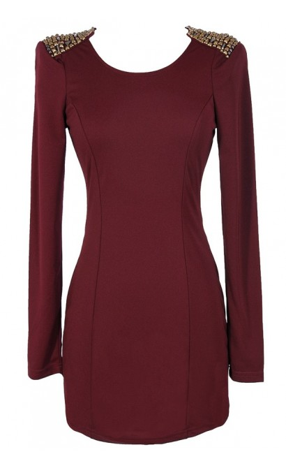 Shoulders Above Embellished Bodycon Dress in Wine