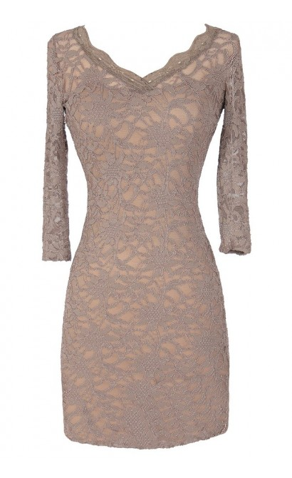 Open Back Fitted Lace Dress With Three Quarter Sleeves in Taupe
