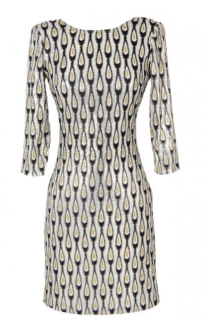 Gold and Silver Raindrops Sequin Designer Dress