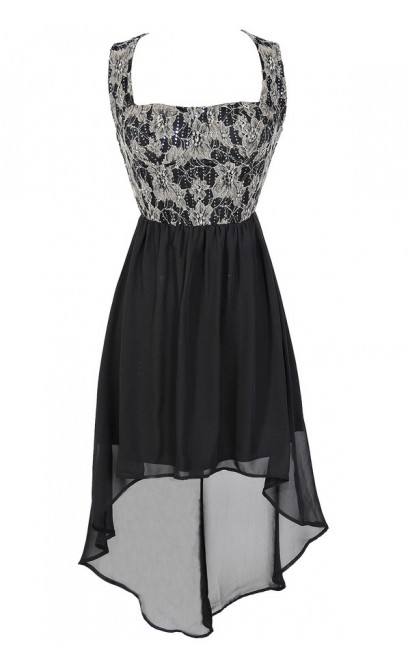 Glittered Lace Black Bustier High Low Dress