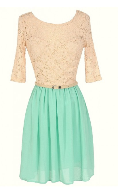 Dawn Til Dusk Belted Lace and Chiffon Dress in Mint