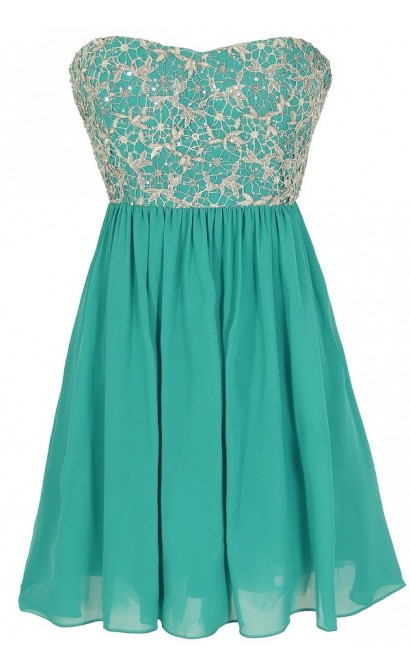Stars In The Sky Sequin Lace Overlay Designer Dress by Minuet in Teal