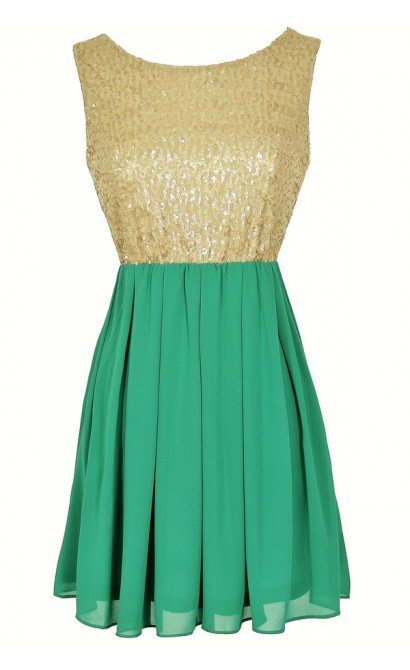 Go For Gold Sequin and Chiffon Dress in Green