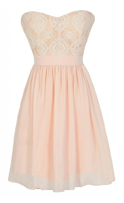 Making Memories Chiffon and Lace Designer Dress in Peach