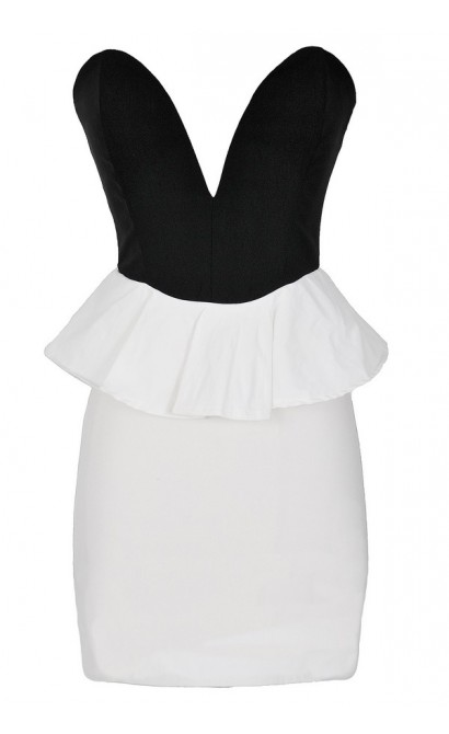 Play My Song Black and White Plunging Peplum Dress