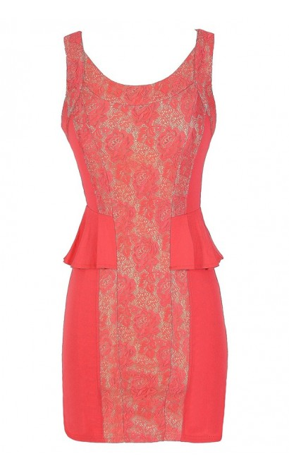 Classy Coral Lace Inset Peplum Dress