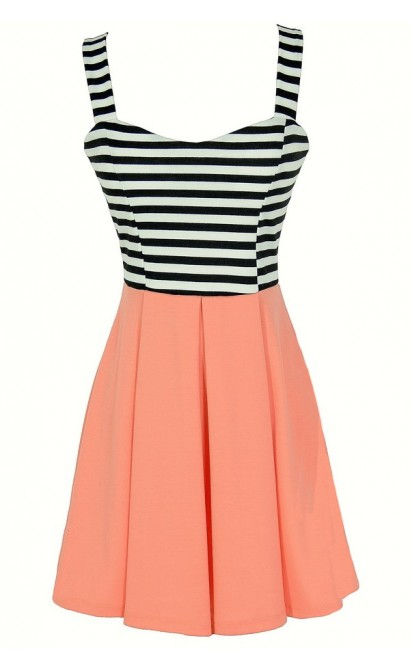 Stripes and Solids Colorblock Dress in Peach
