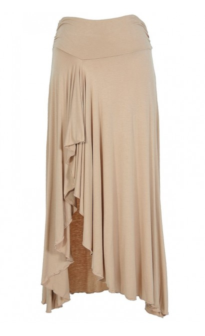 Side Slit Ruffle Maxi Skirt in Beige