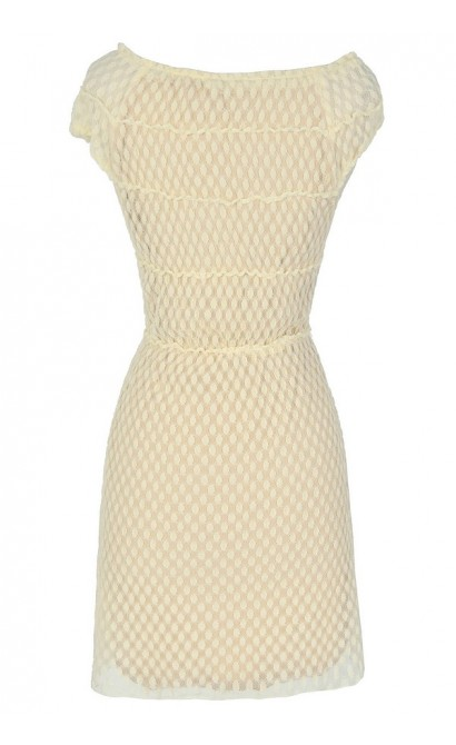 Vanilla Cream Dot Scrunch Dress