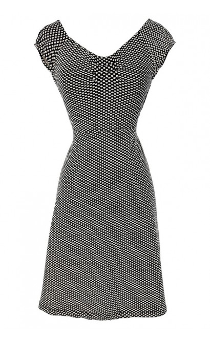 Delores Black and Ivory Crisscross Dot Dress